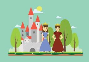 Free Two Siblings Princess With Kingdom Background vector