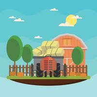 Gratis Hayride I En Farm Illustration