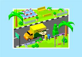 Isometric Klepon Moving Van Free Vector