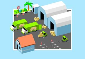Moving Van In Factory Free Vector