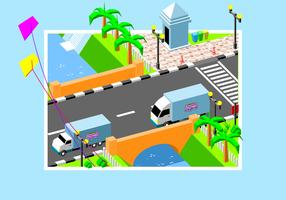 Moving Van Cross The Bridge Free Vector