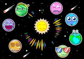 Cute Planets Free Vector