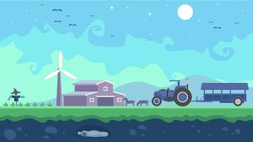 Hayride In The Fields At Night Free Vector