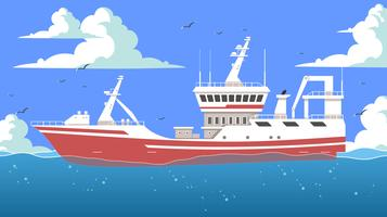 Big Red Trawler Free Vector