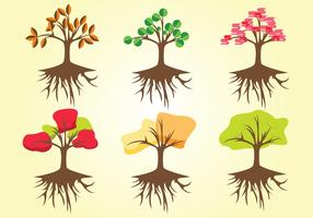 Árbol con Roots Vector Pack