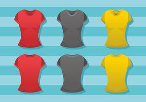 Plantilla de camiseta con cuello en V para mujer