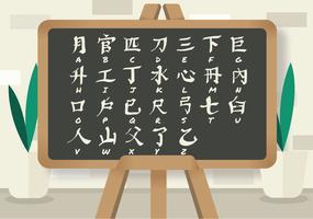 Japanische Buchstaben auf schwarzem Brett-Vektor