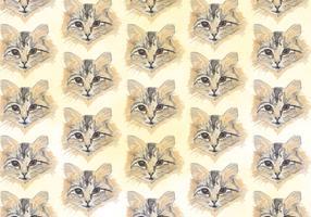 Gratis vektor mönster med målade katthuvud