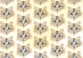 Kostenloses Vektor-Muster mit gemalten Cat Heads vektor
