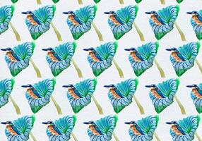 Free Vector Birds On Flower Seamless Pattern