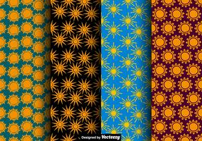 Vector Seamless Sun Icon Patterns
