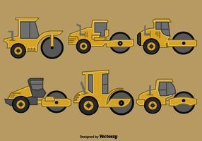 Conjunto de estilo plano de los iconos de Steamroller del vector