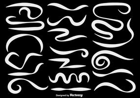 Vector Set Of White Hand Drawn Squiggles