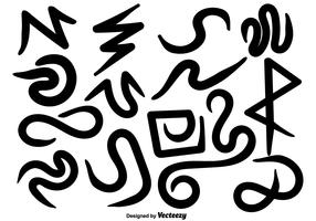 vector hand getekende kronkels