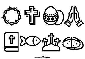 Conjunto de vetores de ícones planos para a Quaresma e a Páscoa.