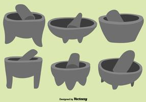 Vector Set Of Green Mexican Molcajete With Pestle