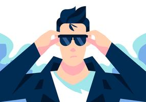 Greaser Wearing Glasses Vector