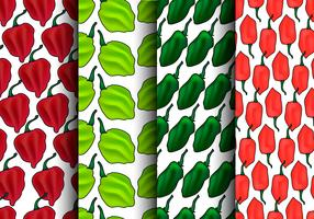 Habanero poivre Seamless Pattern Set - vecteur