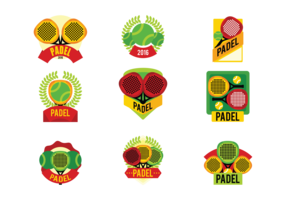 Padel tennis labels vector