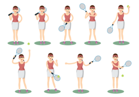 Female Playing Tennis vector