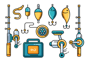 Fishing Tackle Icons Vector