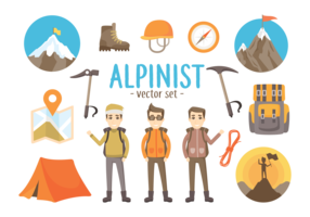 Alpinist Verktyg Vector Illustrationer