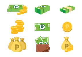 Peso Mexican Money Icons Vector