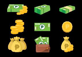 Peso mexicain argent icônes vectorielles