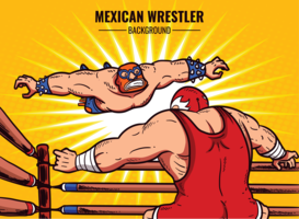Mexican Wrestler Cartoon Illustration
