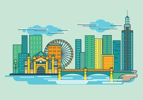 Melburne City Skyline Australia Vector