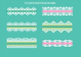 Set of Garter Pattern with Green and Pink Ribbon