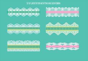Set van ribbelpatroon met groen en roze lint