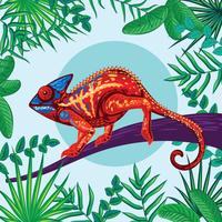 Chameleon Fantasy Rainbow Colors with Tropical Jungle Background