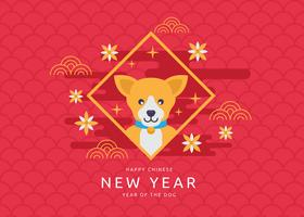 Free Chinese New Year of The Dog Vector Illustration