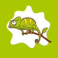 Chameleon on Branch Illustration