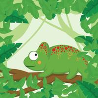 Camaleón con fondo de bosque
