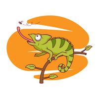 Gratis Vector Chameleon fångar flugor illustration