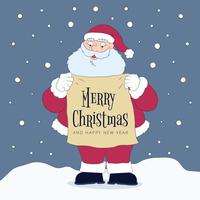 Cute Santa Character Holding Sign With Christmas Message