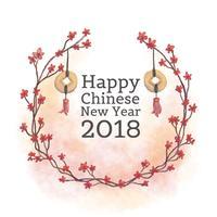 Hojas lindas y flores rojas con monedas chinas al año chino