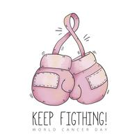 Cute Boxing Gloves To Cancer Day vector