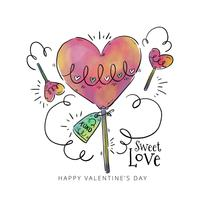 Cute Lollypop Heart With Ornaments To Valentine's day vector