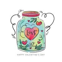 Cute Jar With Heart, Leaves And Ornaments Inside vector