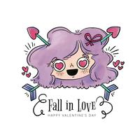 Cute Girl Head Falling In Love With Arrows vector