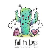 Cute Cactus In Love With Arrows Around To Valentine's Day