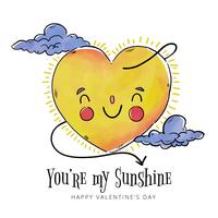 Cute Sun Character With Clouds To Valentine's Day