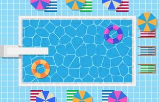 Swimming Pool With Inflatable Swim Ring In Donut Form And Springboard For Jump Illustration