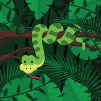 Anaconda On Forest Background vector