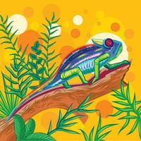 Primer plano de un hermoso camaleón en el fondo del bosque verde