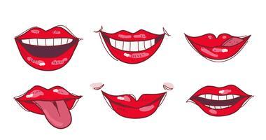 Illustrazione disegnata a mano di vettore delle labbra rosse sexy