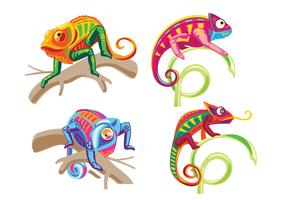 Set of Chameleon Lizard Standing on a Plant vector